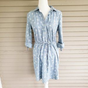Old Navy Floral Denim Button Up Dress Size Small